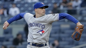 Toronto Blue Jays pitcher Aaron Sanchez delivers against the New York Yankees during the first inning of a baseball game in New York on Thursday, April 19, 2018. (AP Photo/Julie Jacobson)