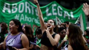 Women attend a pro-abortion demonstration to demand its legalization in Buenos Aires, Argentina on April 10, 2018. (AP Photo/Natacha Pisarenko)