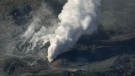 Volcanic smoke billows from Mt. Io, part of the Kirishima mountain range on Japan's southern main island of Kyushu, taken over Ebino city, Miyazaki prefecture on April 19, 2018. (Kyodo News via AP)