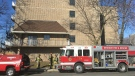 Fire at a seniors complex on McDougall Street in Windsor, Ont., on Friday, April 20, 2018. (Chris Campbell / CTV Windsor)
