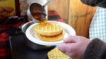Maple syrup is poured in New Ashford, Mass., on Sunday, March, 22, 2015. (AP Photo/The Berkshire Eagle, Gillian Jones)