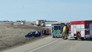 Emergency crews at the scene of Friday's fatal crash on Highway 9 (image courtesy: Steven Thiessen)