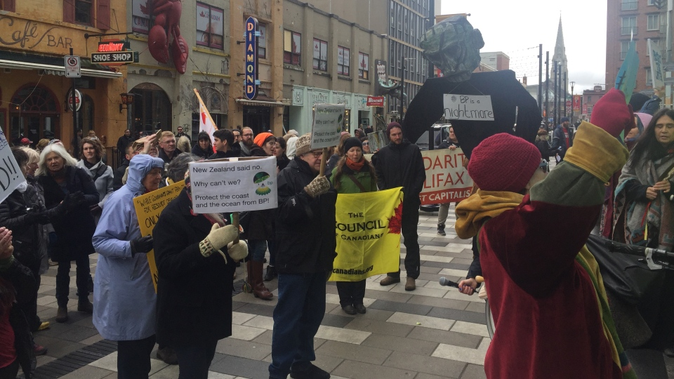 Environmental protesters gathered outside the Liberal Party convention venue in Halifax on April 20, 2018 (Rachel Aiello/CTV News).