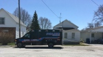Chatham-Kent police are at the scene of a homicide investigation in Wallaceburg, Ont., on Friday, April 20, 2018. (Stefanie Masotti / CTV Windsor)