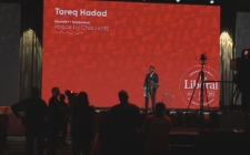 Peace by Chocolate founder Tareq Hadhad addresses the crowd at the 2019 Liberal national convention in Halifax.
