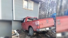 A truck crashed into a home on the La Ronge Indian Band on Friday, April 20. (SOURCE: RCMP)