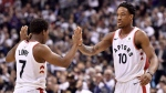 "Toronto Raptors guard Kyle Lowry (7) and teammate DeMar DeRozan (10) celebrate a basket during first half NBA basketball action against the Washington Wizards, in Toronto on Tuesday, April 17, 2018. Dwane Casey remembers the ""pow-wow"" he had with DeMar DeRozan and Kyle Lowry. (THE CANADIAN PRESS/Nathan Denette)"