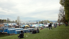 The thousands of attendees at Vancouver's 2018 4/20 event strolled by tents offering everything from cannabis lemonade to popcorn. (Megan Devlin / CTV News)