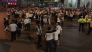 Winnipeg police closed Portage & Main to traffic Friday night as elated fans gathered in the middle of the intersection to celebrate an historic win for the Winnipeg Jets.
