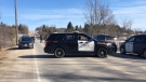 There was a heavy police presence on the Belwood Bridge on Saturday afternoon, after a body was found in the Grand River. (Terry Kelly/ CTV Kitchener)