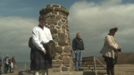 A crowd gathered at the Culloden Memorial Cairn in Knoydart, N.S., Saturday, April 21, 2018.