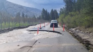 Flooding in B.C.'s Okanagan region is seen in this photo released by the Regional District of Okanagan-Similkameen, which issued warnings to 33 properties over concerns of flooding and mudslides. (Source: Facebook, Regional District of Okanagan-Similkameen)