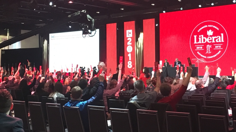 Delegates voting on policy at the 2018 Liberal Party convention in Halifax, N.S. (CTV News / Rachel Aiello)