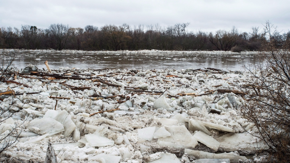 Ice is seen in the high waters of the Grand River in Brantford where residents were being evacuated due to flooding after an ice jam upstream of Parkhill Dam sent a surge of water downstream on Wednesday, February 21, 2018. (THE CANADIAN PRESS/Aaron Vincent Elkaim)