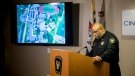 Cincinnati Police Chief Eliot Isaac speaks to reporters about the death of Kyle Plush Thursday, April 12, 2018, during a news conference at the Criminal Investigation Section conference room, in Cincinnati. He showed a map of the Seven Hills School campus on Red Bank Road with a star indicating where Plush's 2002 Honda Odyssey was found. (Meg Vogel /The Cincinnati Enquirer via AP)
