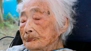 This Sept. 2015 photo shows Nabi Tajima, the world's oldest person, a 117-year-old Japanese woman. (Kikai Town/Kyodo News via AP)