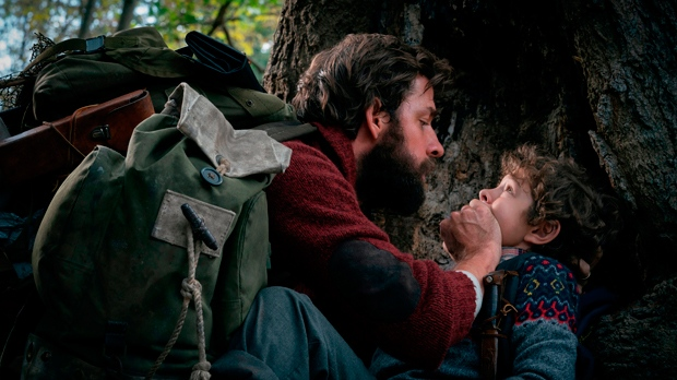 John Krasinski, left, and Noah Jupe in 'A Quiet Place.' (Jonny Cournoyer / Paramount Pictures via AP)
