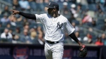 New York Yankees starting pitcher Luis Severino reacts after striking out a batter during the second inning of a baseball game against the Toronto Blue Jays at Yankee Stadium, Sunday, April 22, 2018 in New York. (AP Photo/Seth Wenig)