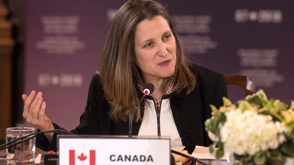 Canadian Minister of Foreign Affairs Chrystia Freeland chairs a meeting of her counterparts from France, United States, United Kingdom, Germany, Japan, Italy and the European Union during a Foreign Ministers' Working session discussing the Middle East, in Toronto on Sunday, April 22, 2018. (THE CANADIAN PRESS/Chris Young)