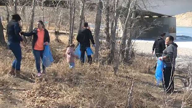 Volunteers with Plastic Free YYC got together on Sunday to work to clean up an area along the banks of the Bow River in Calgary.