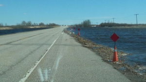 water rising on highway 16