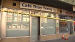 Police tape surrounded this restaurant Sunday near Kingsway and Nanaimo Street.