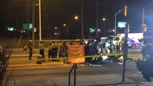 One man is dead following a three-vehicle crash in North York. (Michael Nguyen/ CP24)