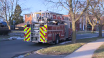 Fire officials say the flames broke out in one unit at the Kitchener apartment building.