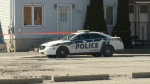 Gatineau Police cordon off a home on rue Fernand-Arvisais where 23-year-old Joey Morin's body was discovered in his basement apartment on Saturday, Apr. 21, 2018. (CTV Ottawa)
