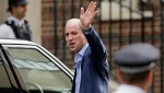 Prince William waves as he leaves the Lindo wing at St Mary's Hospital in London London, Monday, April 23, 2018. (AP Photo/Tim Ireland)