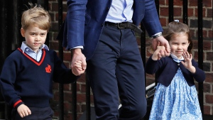 Prince William arrives with Prince George and Princess Charlotte back to the Lindo wing at St Mary's Hospital in London London, Monday, April 23, 2018. (AP Photo/Kirsty Wigglesworth)