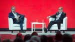 Gerald Butts, left, senior political adviser to Prime Minister Justin Trudeau, and David Axelrod, Chief Strategist for Barack Obama's presidential campaign, speak at the federal Liberal national convention in Halifax on Friday, April 20, 2018. THE CANADIAN PRESS/Darren Calabrese