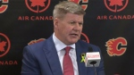 Bill Peters addresses the media after being named as head coach of the Calgary Flames on April 23, 2018
