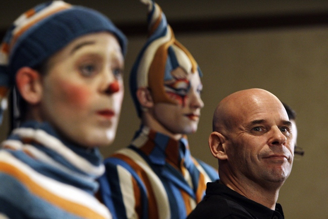 Cirque Du Soleil founder Guy Laliberte listens during the news conference in the Hollywood section of Los Angeles, Monday, Nov. 19, 2007. (AP / Kevork Djansezian)