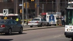 Emergency officials respond to an incident on Yonge Street south of Finch Avenue on Monday, April 23, 2018.