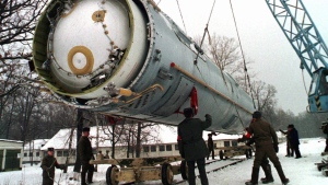 Soldiers prepare to destroy a ballistic SS-19 missile in the yard of the largest former Soviet military rocket base in Vakulenchuk, Ukraine. Another Russian rocket stage likely to be holding highly toxic fuel is slated to splash down in an environmentally sensitive area of the Canadian Arctic on Wednesday. (THE CANADIAN PRESS/AP, File)