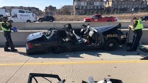 The OPP's Kerry Schmidt tweeted this photo of a police cruiser after a serious collision in Brampton, Ont. (Twitter/OPP_HSD)