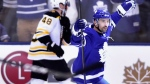Toronto Maple Leafs centre Tomas Plekanec (19) celebrates his empty net goal during third period NHL round one playoff hockey action against the Boston Bruins in Toronto on Monday, April 23, 2018. THE CANADIAN PRESS/Frank Gunn