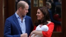 Prince William and Kate, Duchess of Cambridge pose for a photo with their newborn baby son as they leave the Lindo wing at St Mary's Hospital in London London, Monday, April 23, 2018. The Duchess of Cambridge gave birth Monday to a healthy baby boy — a third child for Kate and Prince William and fifth in line to the British throne. (AP Photo/Kirsty Wigglesworth)