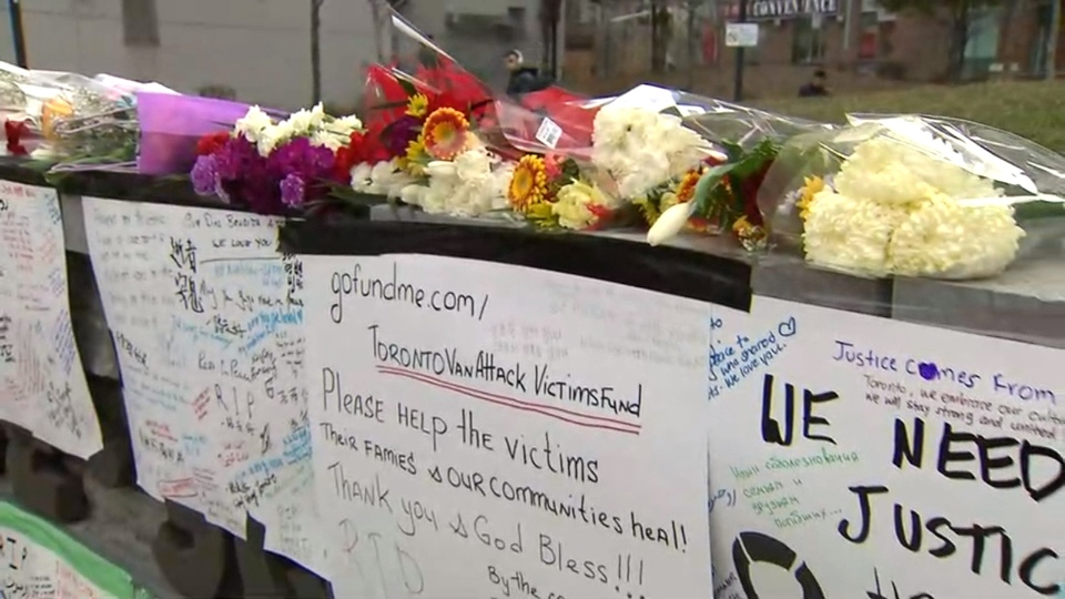 A makeshift memorial for the victims of the attack has been set up on Yonge Street, south of Finch Avenue.