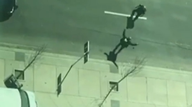 A video sent in by a viewer shows a Toronto police officer moving in to arrest the suspect of the Toronto van attack that killed 10 pedestrians and wounded 15 others.