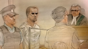 Van attack suspect Alek Minassian is pictured in this court sketch, Tuesday, April 24, 2018. (Credit: John Mantha)