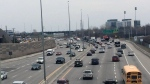 Traffic on Highway 417 Eastbound is brought to a standstill after a man in his 70s fell off his motorcycle on Tuesday, Apr. 24, 2018. The man was not seriously injured.  (Peter Szperling/CTV Ottawa)