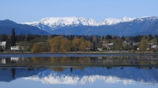 Crystal clear: the Comox Glacier and her reflection, April 24, 2018. Photo by Tanja Kerr of Royston, B.C.