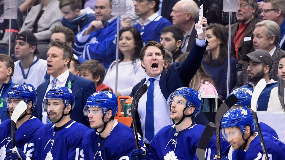 Toronto Maple Leafs coach Mike Babcock reacts during third period NHL round one playoff hockey action against the Boston Bruins in Toronto on Thursday, April 19, 2018. THE CANADIAN PRESS/Nathan Denette