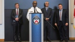 Toronto Police Chief Mark Saunders (centre left) stands with Toronto Mayor John Tory (left) Toronto Chief Coroner Dr. Dirk Huyer (centre right) and Toronto Homicide Officer Det. Sgt. Graham Gibson as he addresses the media at Police Headquarters in Toronto on Tuesday, April 24, 2018, the day after a driver drove a rented van down sidewalks Monday afternoon, striking pedestrians in his path THE CANADIAN PRESS/Chris Young