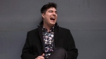 "Singer Jeremy Dutcher poses in Toronto on Tuesday, April 10, 2018. The singer is a member of the Tobique First Nation in New Brunswick, and his new album ""Wolastoqiyik Lintuwakonawa"" has him singing alongside music and vocals made on wax recordings 110 years ago in the now dying Wolastoq language. (THE CANADIAN PRESS/Chris Young)"