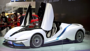 An Arcfox-7 electric sports car by Chinese automaker BAIC on display at the Beijing International Automotive Exhibition in Beijing, on April 27, 2016. (Mark Schiefelbein / AP)