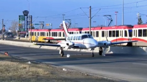 Aircraft on 36 St NE on April 25, 2018 following an emergency landing during flight from Medicine Hat to Calgary