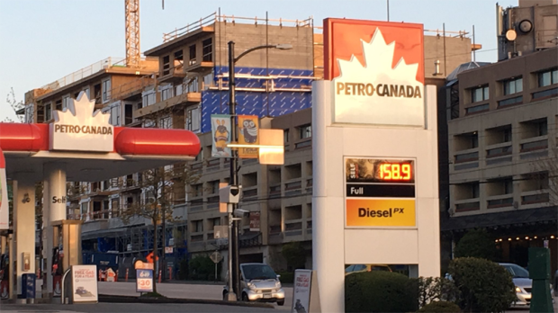 Some gas stations in Metro Vancouver were selling gas at 158.9 cents a litre Wednesday, an all-time record high for the region.